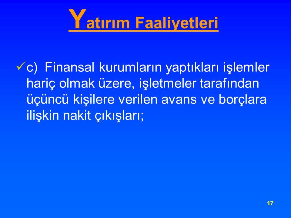 17 Y atırım Faaliyetleri c) Finansal kurumların yaptıkları işlemler hariç olmak üzere, işletmeler tarafından üçüncü kişilere verilen avans ve borçlara