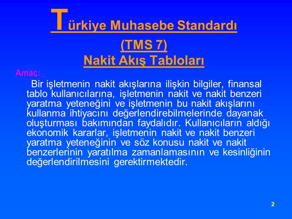 3 T ürkiye Muhasebe Standardı (TMS 7) Nakit Akış Tabloları Bu standardın amacı; işletme, yatırım ve finansman faaliyetlerinden dönem buyunca elde edilen nakit akışlarını sınıflandıran nakit akış tablosu vasıtasıyla, bir işletmenin nakit ve nakit benzerlerindeki tarihi değişikliklere ilişkin bilgi sağlaması hususunu düzenlemektedir.