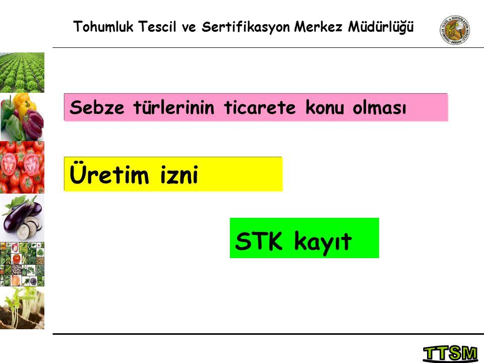 STK kayıt Tohumluk Tescil ve Sertifikasyon Merkez Müdürlüğü Sebze türlerinin ticarete konu olması Üretim izni
