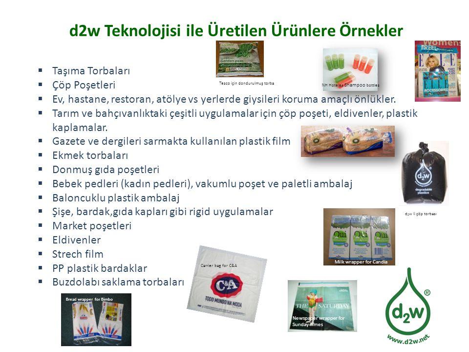 d2w Teknolojisi ile Üretilen Ürünlere Örnekler  Taşıma Torbaları  Çöp Poşetleri  Ev, hastane, restoran, atölye vs yerlerde giysileri koruma amaçlı