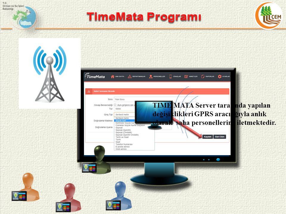 TIME MATA Server tarafında yapılan değişiklikleri GPRS aracılığıyla anlık olarak saha personellerine iletmektedir.
