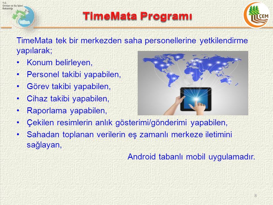 TimeMata tek bir merkezden saha personellerine yetkilendirme yapılarak; Konum belirleyen, Personel takibi yapabilen, Görev takibi yapabilen, Cihaz takibi yapabilen, Raporlama yapabilen, Çekilen resimlerin anlık gösterimi/gönderimi yapabilen, Sahadan toplanan verilerin eş zamanlı merkeze iletimini sağlayan, Android tabanlı mobil uygulamadır.