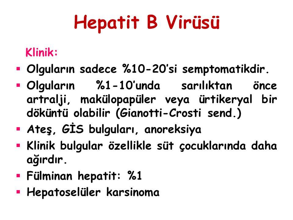 Hepatit B Virüsü Klinik:  Olguların sadece %10-20'si semptomatikdir.  Olguların %1-10'unda sarılıktan önce artralji, makülopapüler veya ürtikeryal b