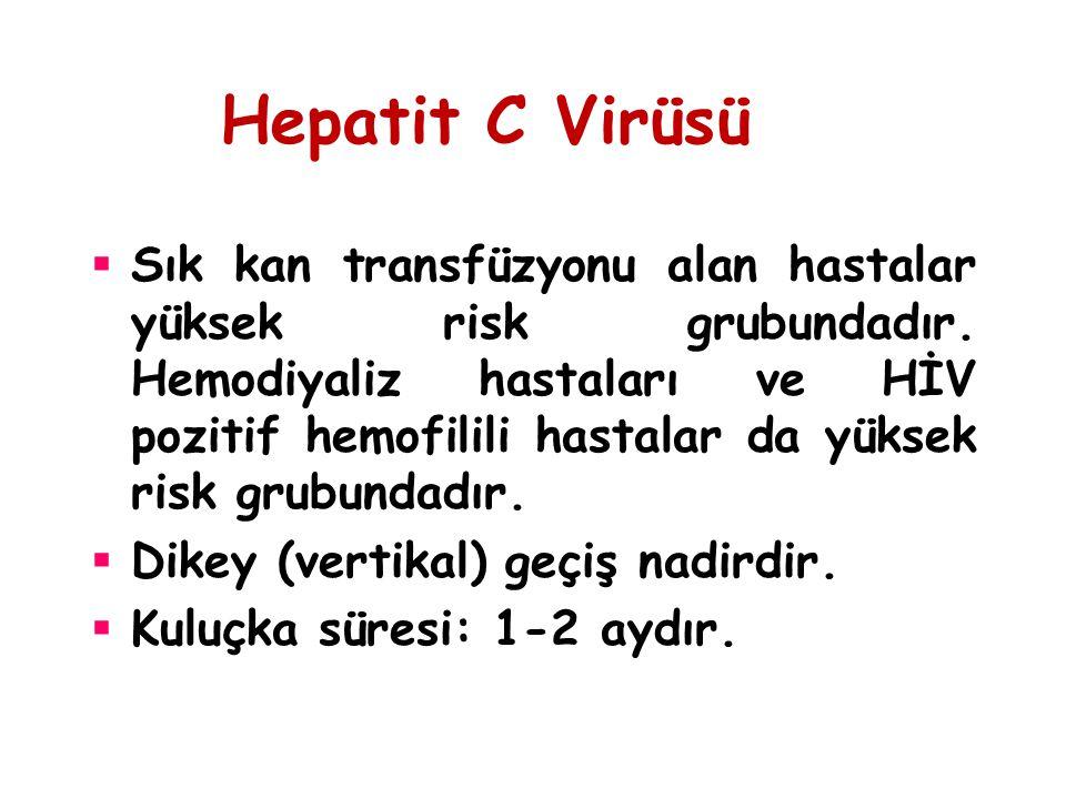 Hepatit C Virüsü  Sık kan transfüzyonu alan hastalar yüksek risk grubundadır. Hemodiyaliz hastaları ve HİV pozitif hemofilili hastalar da yüksek risk