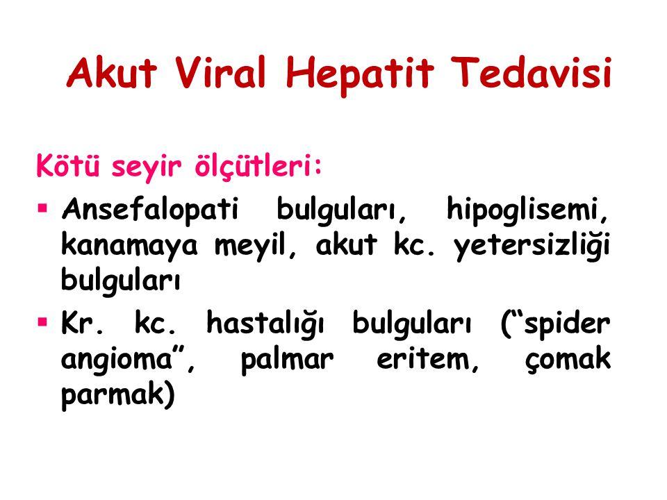 Akut Viral Hepatit Tedavisi Kötü seyir ölçütleri:  Ansefalopati bulguları, hipoglisemi, kanamaya meyil, akut kc. yetersizliği bulguları  Kr. kc. has