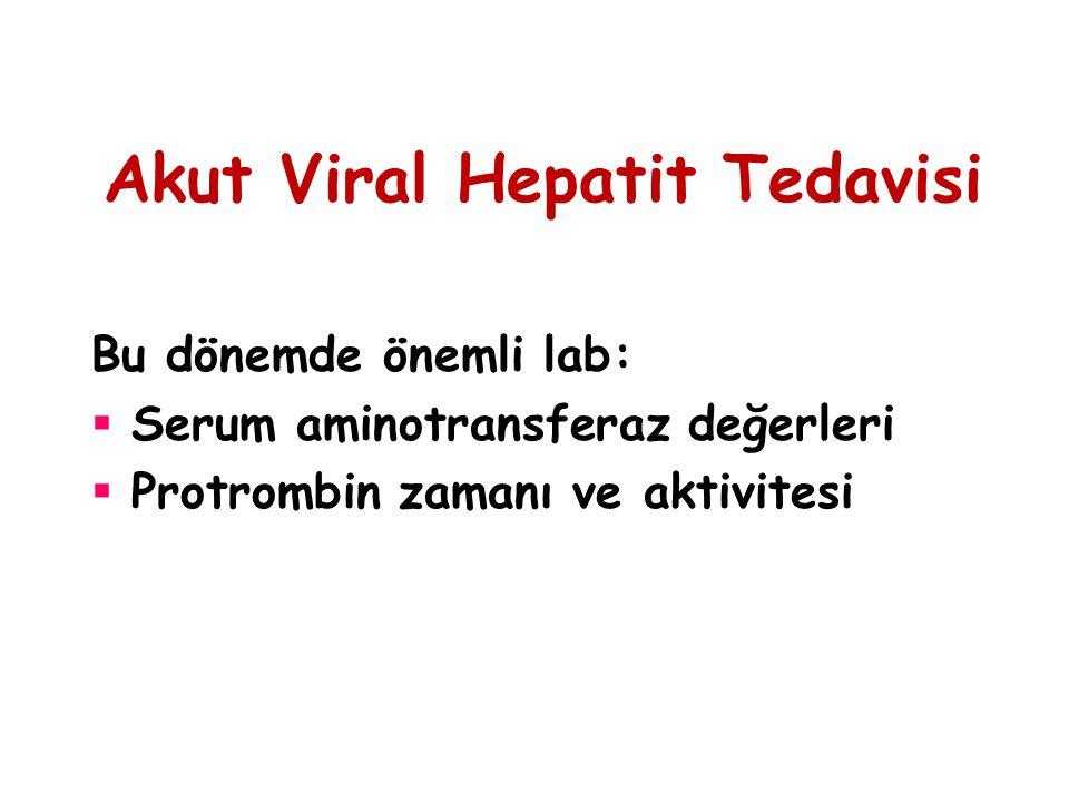Akut Viral Hepatit Tedavisi Bu dönemde önemli lab:  Serum aminotransferaz değerleri  Protrombin zamanı ve aktivitesi
