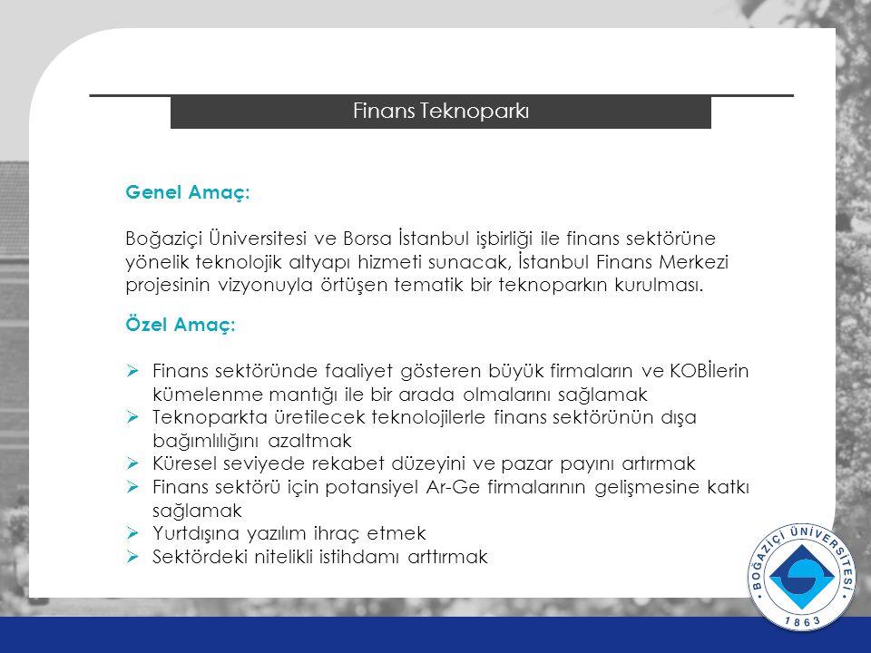 2014 ÖSYS Sonuçları Finans Teknoparkı Genel Amaç: Boğaziçi Üniversitesi ve Borsa İstanbul işbirliği ile finans sektörüne yönelik teknolojik altyapı hizmeti sunacak, İstanbul Finans Merkezi projesinin vizyonuyla örtüşen tematik bir teknoparkın kurulması.
