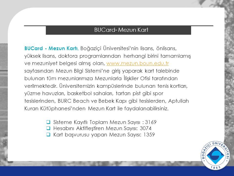 2014 ÖSYS Sonuçları BUCard- Mezun Kart BUCard - Mezun Kartı, Boğaziçi Üniversitesi'nin lisans, önlisans, yüksek lisans, doktora programlarından herhangi birini tamamlamış ve mezuniyet belgesi almış olan, www.mezun.boun.edu.trwww.mezun.boun.edu.tr sayfasından Mezun Bilgi Sistemi'ne giriş yaparak kart talebinde bulunan tüm mezunlarımıza Mezunlarla İlişkiler Ofisi tarafından verilmektedir.