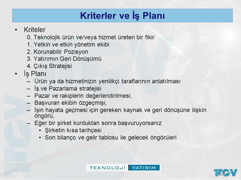 Kriterler ve İş Planı Kriteler 0. Teknolojik ürün ve/veya hizmet üreten bir fikir 1. Yetkin ve etkin yönetim ekibi 2. Korunabilir Pozisyon 3. Yatırımı