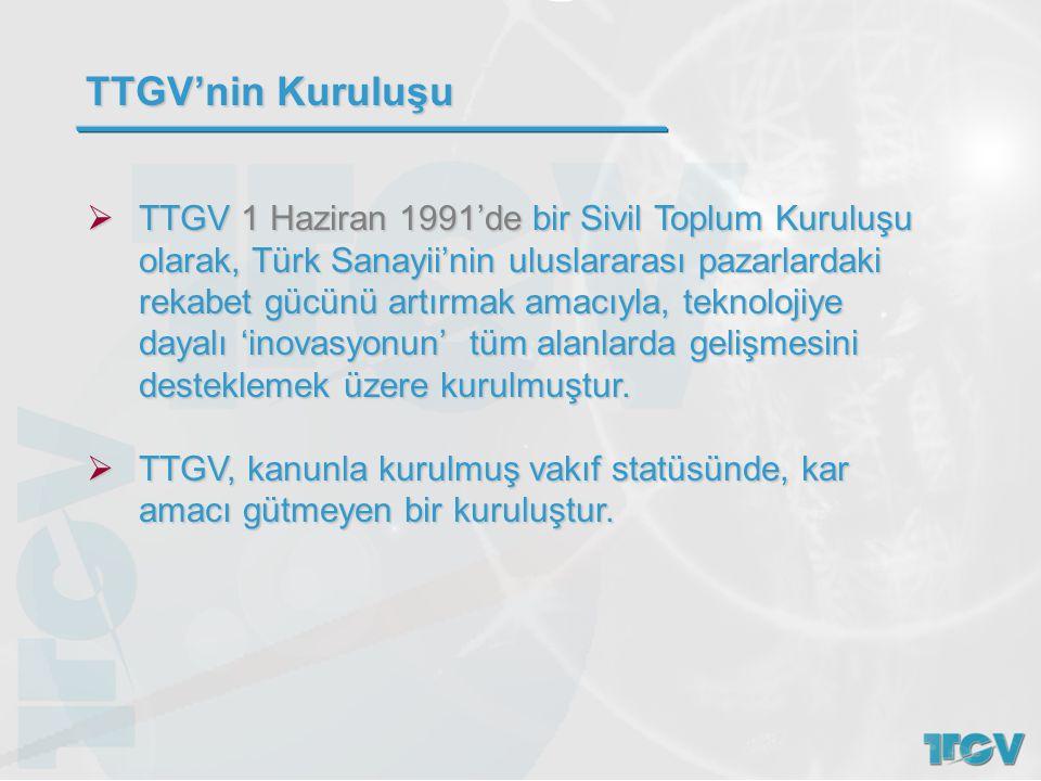  TTGV 1 Haziran 1991'de bir Sivil Toplum Kuruluşu olarak, Türk Sanayii'nin uluslararası pazarlardaki rekabet gücünü artırmak amacıyla, teknolojiye da
