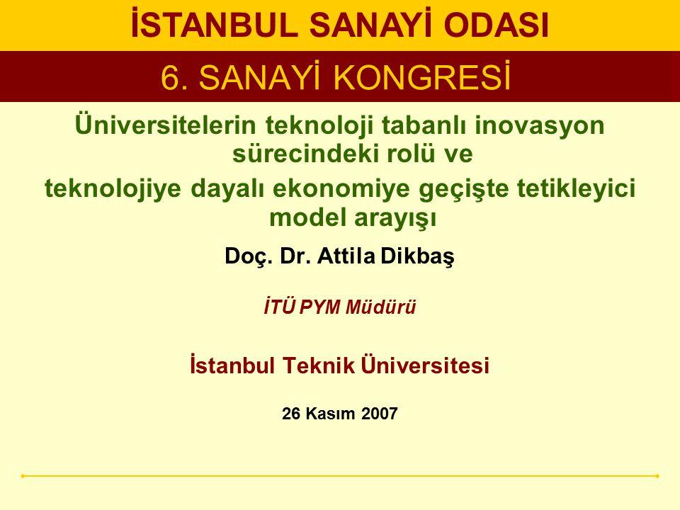 6. SANAYİ KONGRESİ Üniversitelerin teknoloji tabanlı inovasyon sürecindeki rolü ve teknolojiye dayalı ekonomiye geçişte tetikleyici model arayışı Doç.