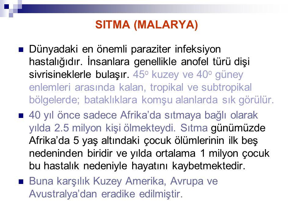 SITMA (MALARYA) Dünyadaki en önemli paraziter infeksiyon hastalığıdır. İnsanlara genellikle anofel türü dişi sivrisineklerle bulaşır. 45 o kuzey ve 40