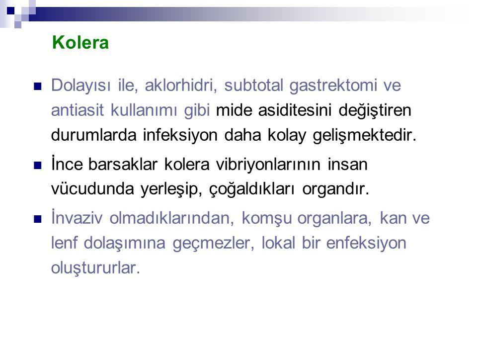 Kolera Dolayısı ile, aklorhidri, subtotal gastrektomi ve antiasit kullanımı gibi mide asiditesini değiştiren durumlarda infeksiyon daha kolay gelişmek
