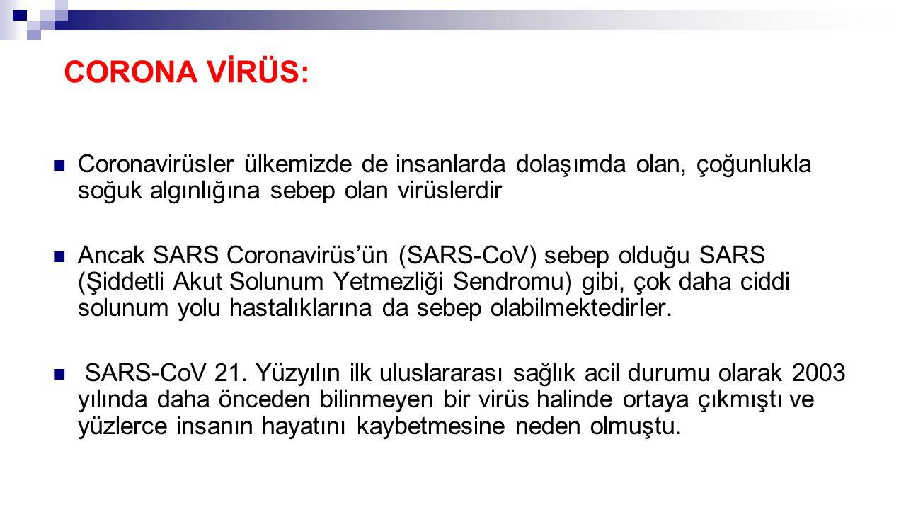 CORONA VİRÜS: Coronavirüsler ülkemizde de insanlarda dolaşımda olan, çoğunlukla soğuk algınlığına sebep olan virüslerdir Ancak SARS Coronavirüs'ün (SARS-CoV) sebep olduğu SARS (Şiddetli Akut Solunum Yetmezliği Sendromu) gibi, çok daha ciddi solunum yolu hastalıklarına da sebep olabilmektedirler.