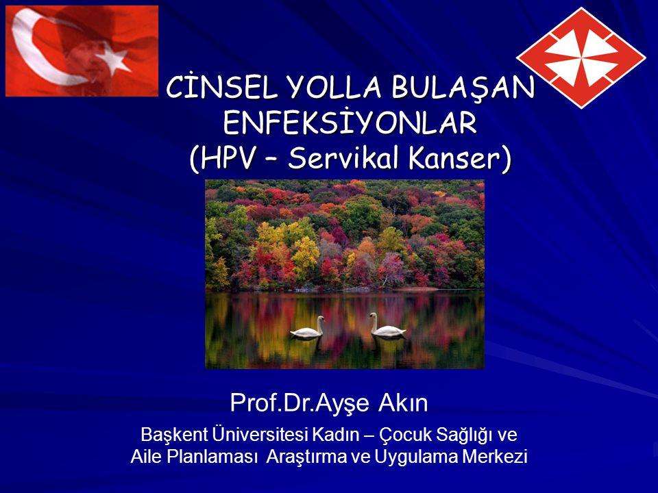 CİNSEL YOLLA BULAŞAN ENFEKSİYONLAR (HPV – Servikal Kanser) Prof.Dr.Ayşe Akın Başkent Üniversitesi Kadın – Çocuk Sağlığı ve Aile Planlaması Araştırma v