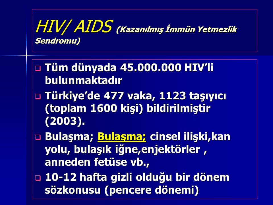 HIV/ AIDS (Kazanılmış İmmün Yetmezlik Sendromu)  Tüm dünyada 45.000.000 HIV'li bulunmaktadır  Türkiye'de 477 vaka, 1123 taşıyıcı (toplam 1600 kişi)