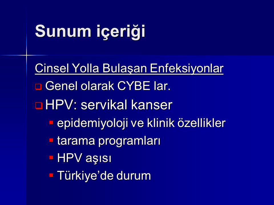 Sunum içeriği Cinsel Yolla Bulaşan Enfeksiyonlar  Genel olarak CYBE lar.  HPV: servikal kanser  epidemiyoloji ve klinik özellikler  tarama program