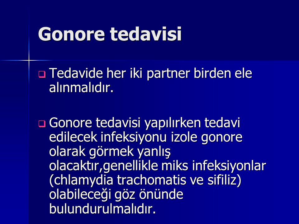 Gonore tedavisi  Tedavide her iki partner birden ele alınmalıdır.  Gonore tedavisi yapılırken tedavi edilecek infeksiyonu izole gonore olarak görmek