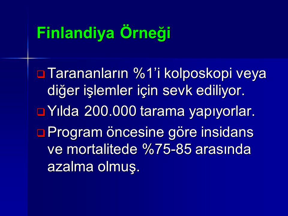 Finlandiya Örneği  Tarananların %1'i kolposkopi veya diğer işlemler için sevk ediliyor.  Yılda 200.000 tarama yapıyorlar.  Program öncesine göre in