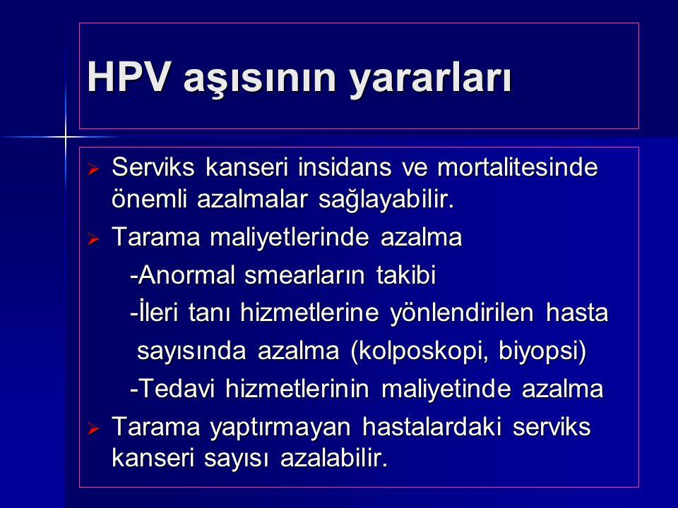 HPV aşısının yararları  Serviks kanseri insidans ve mortalitesinde önemli azalmalar sağlayabilir.  Tarama maliyetlerinde azalma -Anormal smearların