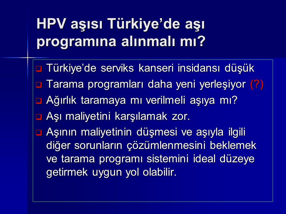 HPV aşısı Türkiye'de aşı programına alınmalı mı?  Türkiye'de serviks kanseri insidansı düşük  Tarama programları daha yeni yerleşiyor (?)  Ağırlık