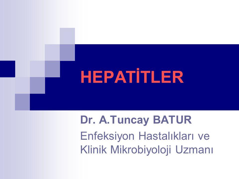HEPATİTLER Dr. A.Tuncay BATUR Enfeksiyon Hastalıkları ve Klinik Mikrobiyoloji Uzmanı