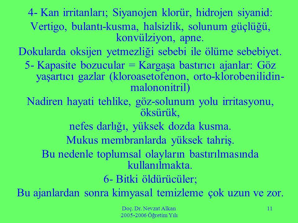 Doç. Dr. Nevzat Alkan 2005-2006 Öğretim Yılı 11 4- Kan irritanları; Siyanojen klorür, hidrojen siyanid: Vertigo, bulantı-kusma, halsizlik, solunum güç