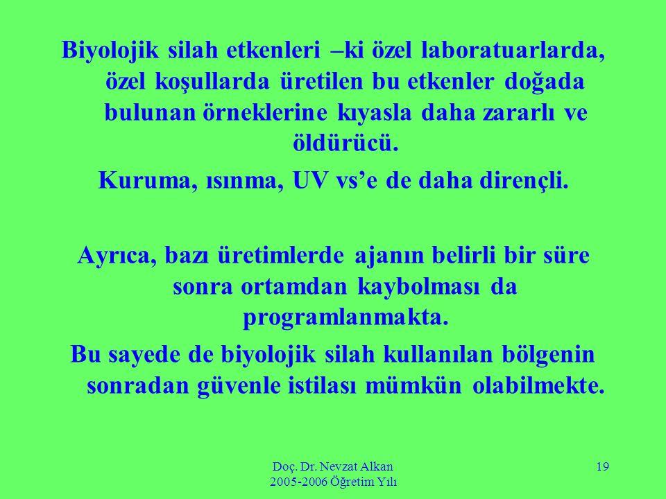 Doç. Dr. Nevzat Alkan 2005-2006 Öğretim Yılı 19 Biyolojik silah etkenleri –ki özel laboratuarlarda, özel koşullarda üretilen bu etkenler doğada buluna