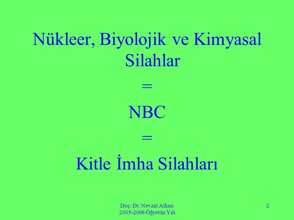 Doç. Dr. Nevzat Alkan 2005-2006 Öğretim Yılı 2 Nükleer, Biyolojik ve Kimyasal Silahlar = NBC = Kitle İmha Silahları