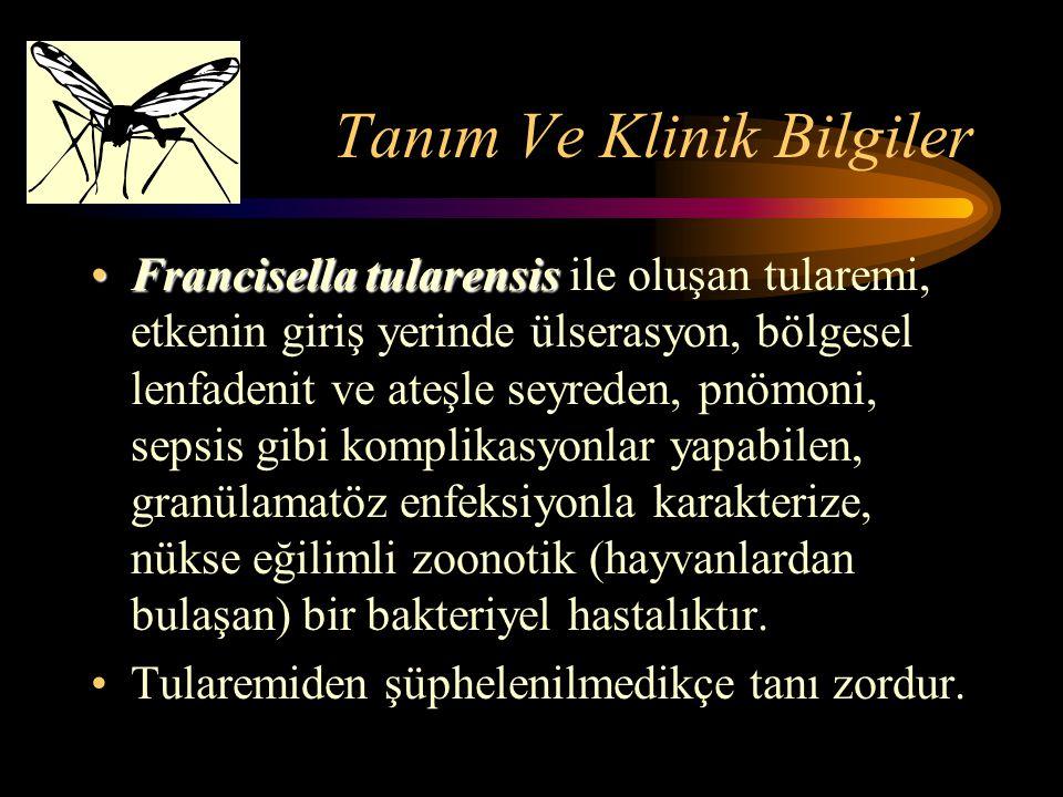 Tanım Ve Klinik Bilgiler Francisella tularensisFrancisella tularensis ile oluşan tularemi, etkenin giriş yerinde ülserasyon, bölgesel lenfadenit ve at