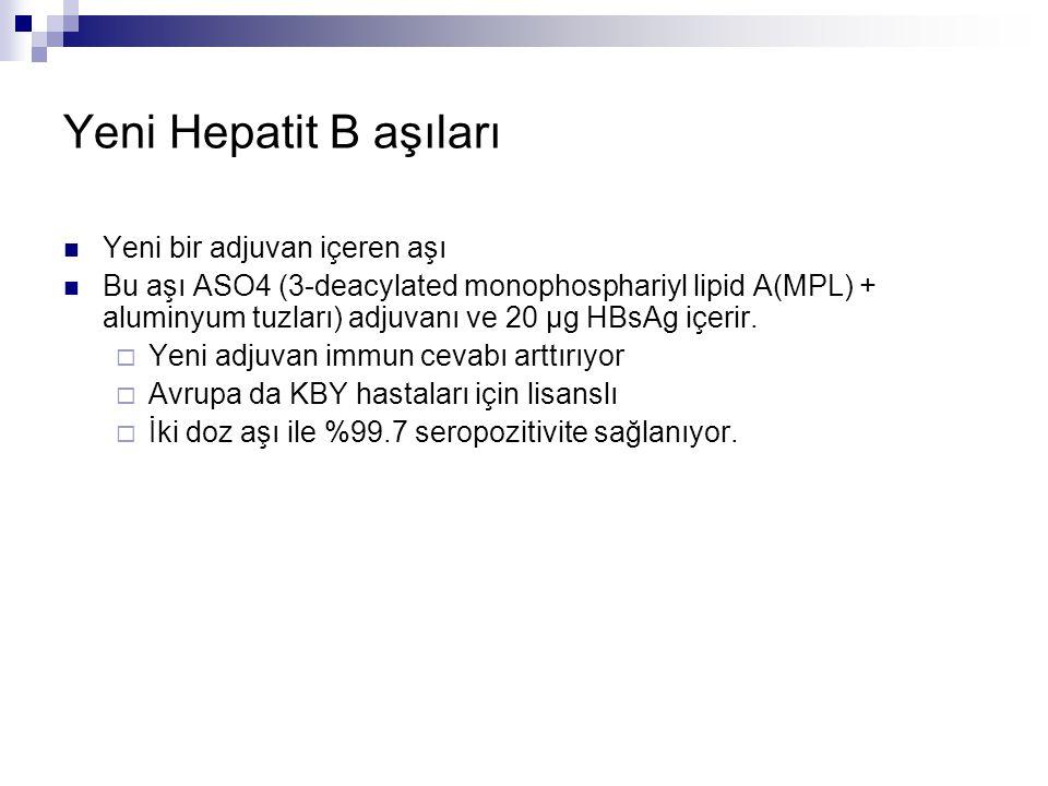 Yeni Hepatit B aşıları Yeni bir adjuvan içeren aşı Bu aşı ASO4 (3-deacylated monophosphariyl lipid A(MPL) + aluminyum tuzları) adjuvanı ve 20 µg HBsAg