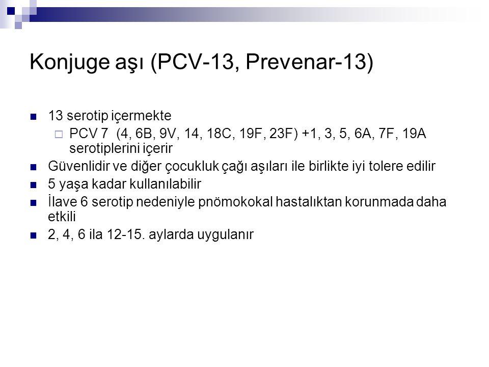 Konjuge aşı (PCV-13, Prevenar-13) 13 serotip içermekte  PCV 7 (4, 6B, 9V, 14, 18C, 19F, 23F) +1, 3, 5, 6A, 7F, 19A serotiplerini içerir Güvenlidir ve
