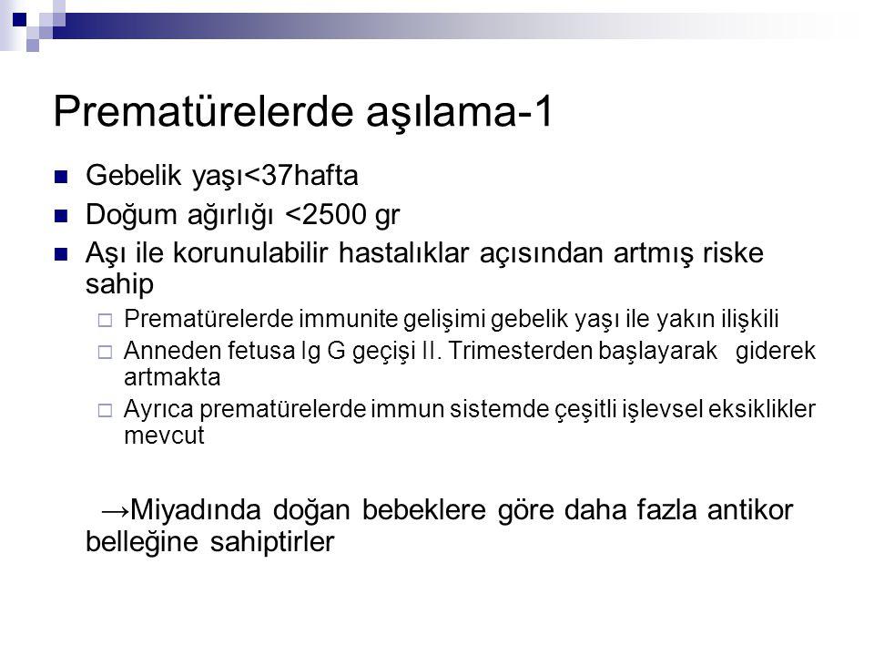 Prematürelerde aşılama-1 Gebelik yaşı<37hafta Doğum ağırlığı <2500 gr Aşı ile korunulabilir hastalıklar açısından artmış riske sahip  Prematürelerde