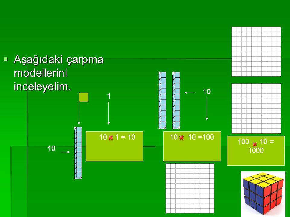  Aşağıdaki çarpma modellerini inceleyelim. 1 10 1 = 10 10 10 10 =100 10 100 100 10 = 1000