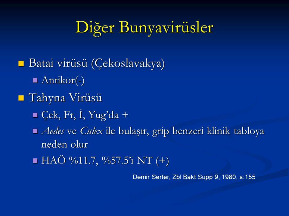 Diğer Bunyavirüsler Batai virüsü (Çekoslavakya) Batai virüsü (Çekoslavakya) Antikor(-) Antikor(-) Tahyna Virüsü Tahyna Virüsü Çek, Fr, İ, Yug'da + Çek