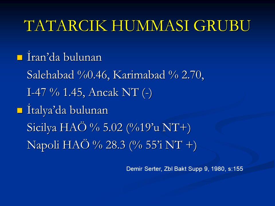 TATARCIK HUMMASI GRUBU İran'da bulunan İran'da bulunan Salehabad %0.46, Karimabad % 2.70, I-47 % 1.45, Ancak NT (-) İtalya'da bulunan İtalya'da buluna