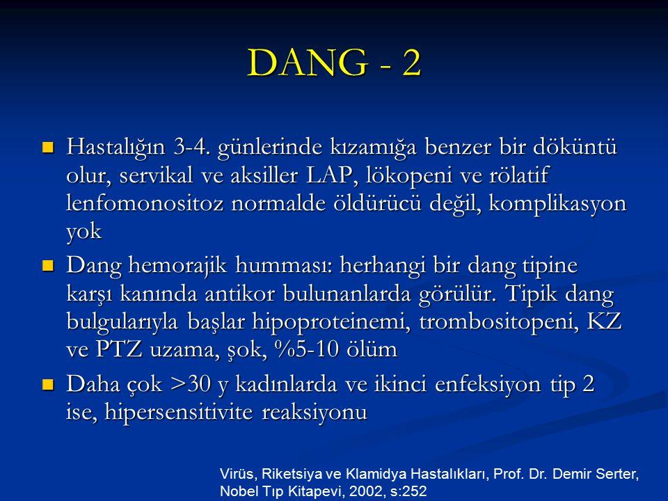 DANG - 2 Hastalığın 3-4. günlerinde kızamığa benzer bir döküntü olur, servikal ve aksiller LAP, lökopeni ve rölatif lenfomonositoz normalde öldürücü d