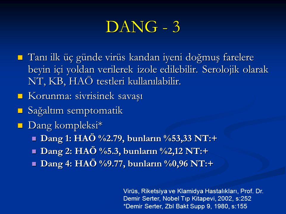 DANG - 3 Tanı ilk üç günde virüs kandan iyeni doğmuş farelere beyin içi yoldan verilerek izole edilebilir. Serolojik olarak NT, KB, HAÖ testleri kulla