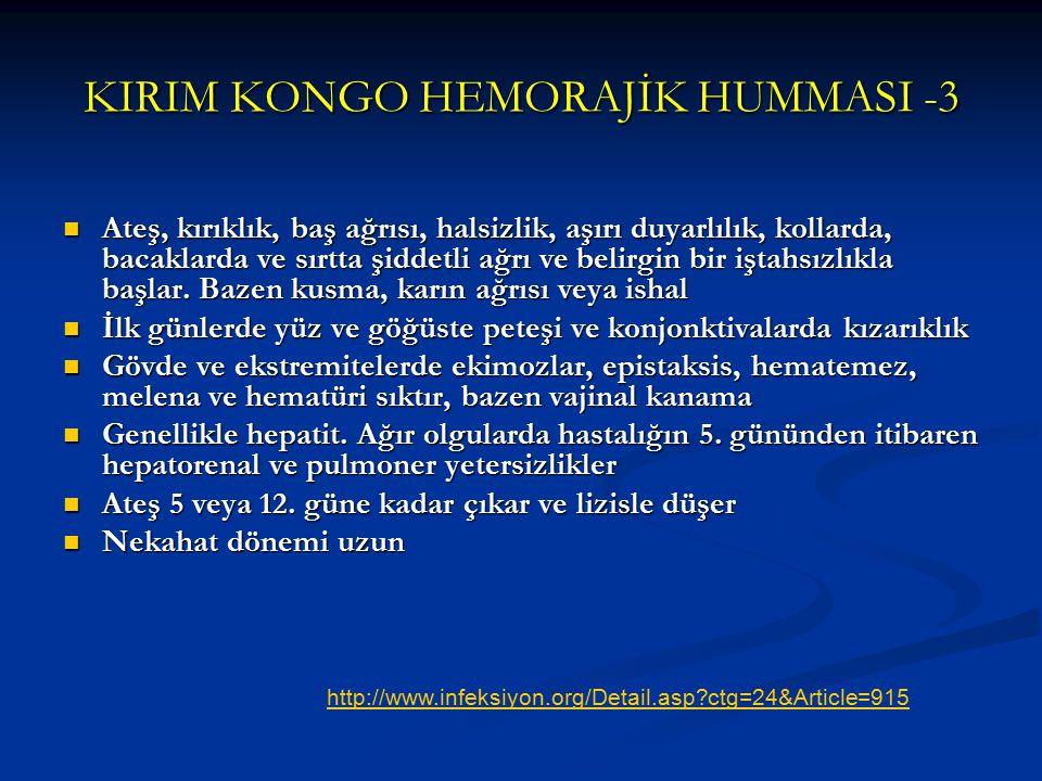 KIRIM KONGO HEMORAJİK HUMMASI -3 Ateş, kırıklık, baş ağrısı, halsizlik, aşırı duyarlılık, kollarda, bacaklarda ve sırtta şiddetli ağrı ve belirgin bir
