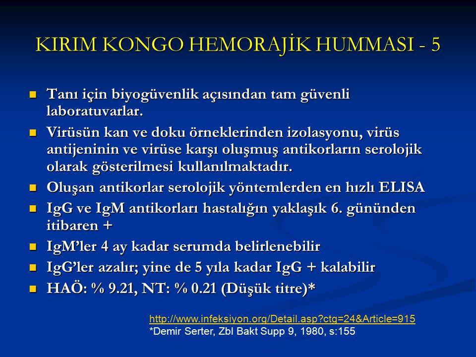 KIRIM KONGO HEMORAJİK HUMMASI - 5 Tanı için biyogüvenlik açısından tam güvenli laboratuvarlar. Tanı için biyogüvenlik açısından tam güvenli laboratuva