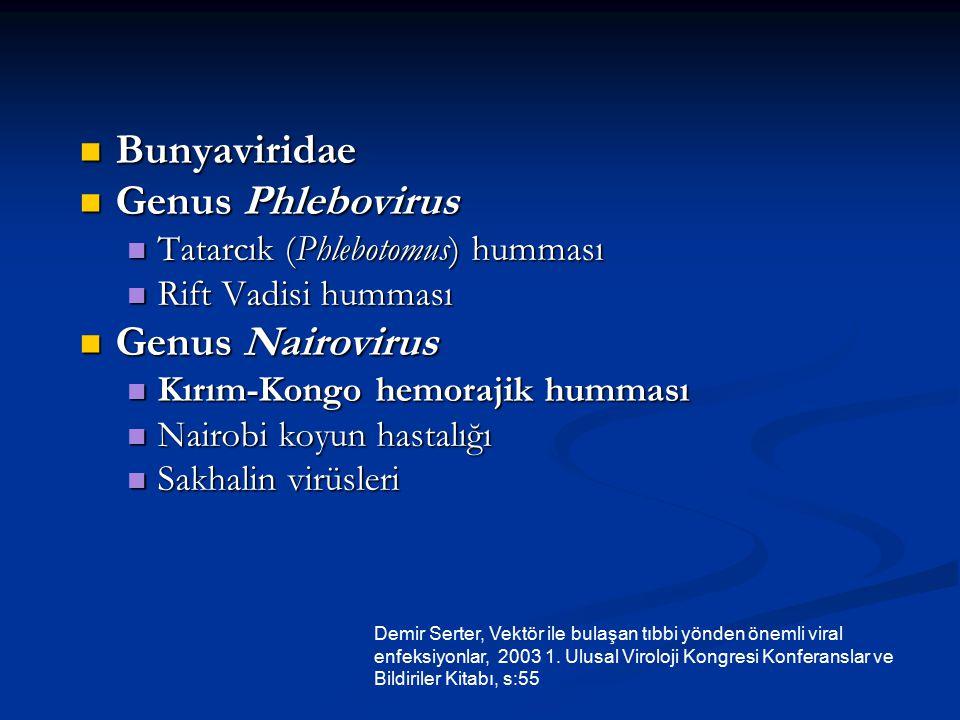 Reoviridae (10 segmentli, çift sarmallı RNA virüsleri*) Reoviridae (10 segmentli, çift sarmallı RNA virüsleri*) -Genus Orbivirus Afrika at hastalığı, Mavi dil virüsü - Genus Coltivirus Colorado kene humması virüsü Rhabdoviridae (zarflı, - iplikçikli RNA virüsleri*) Rhabdoviridae (zarflı, - iplikçikli RNA virüsleri*) -Genus Vesiculovirus -Genus Vesiculovirus Hart Parkı, Kern Kanyonu ve veziküler stomatit virüsleri Demir Serter, Vektör ile bulaşan tıbbi yönden önemli viral enfeksiyonlar, 2003 1.
