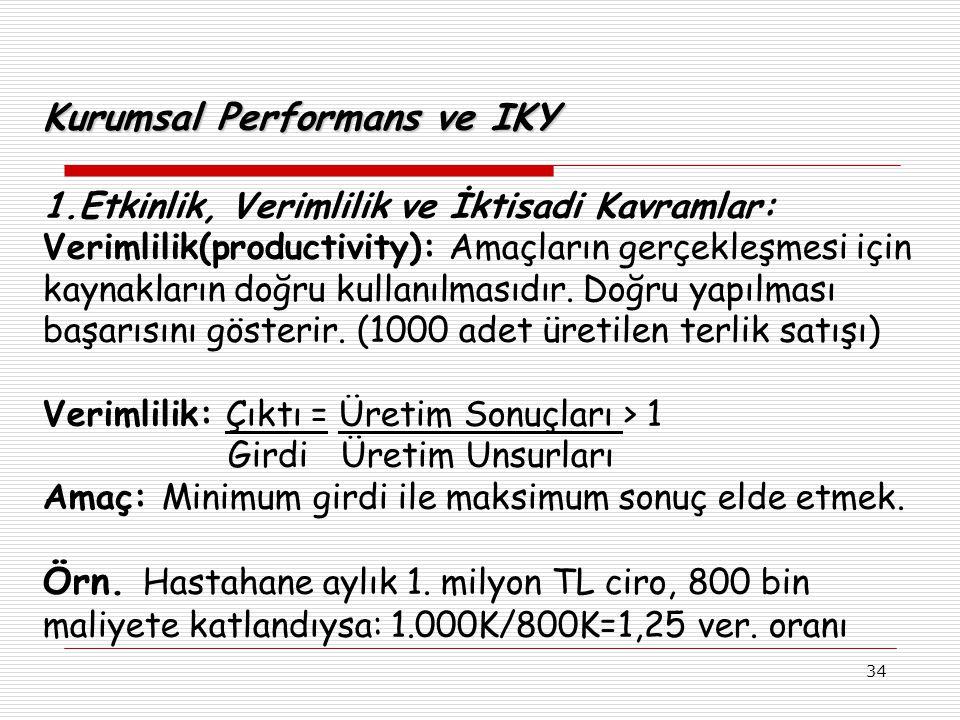 34 Kurumsal Performans ve IKY 1.Etkinlik, Verimlilik ve İktisadi Kavramlar: Verimlilik(productivity): Amaçların gerçekleşmesi için kaynakların doğru kullanılmasıdır.