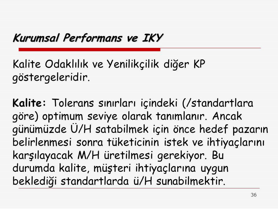 36 Kurumsal Performans ve IKY Kalite Odaklılık ve Yenilikçilik diğer KP göstergeleridir.