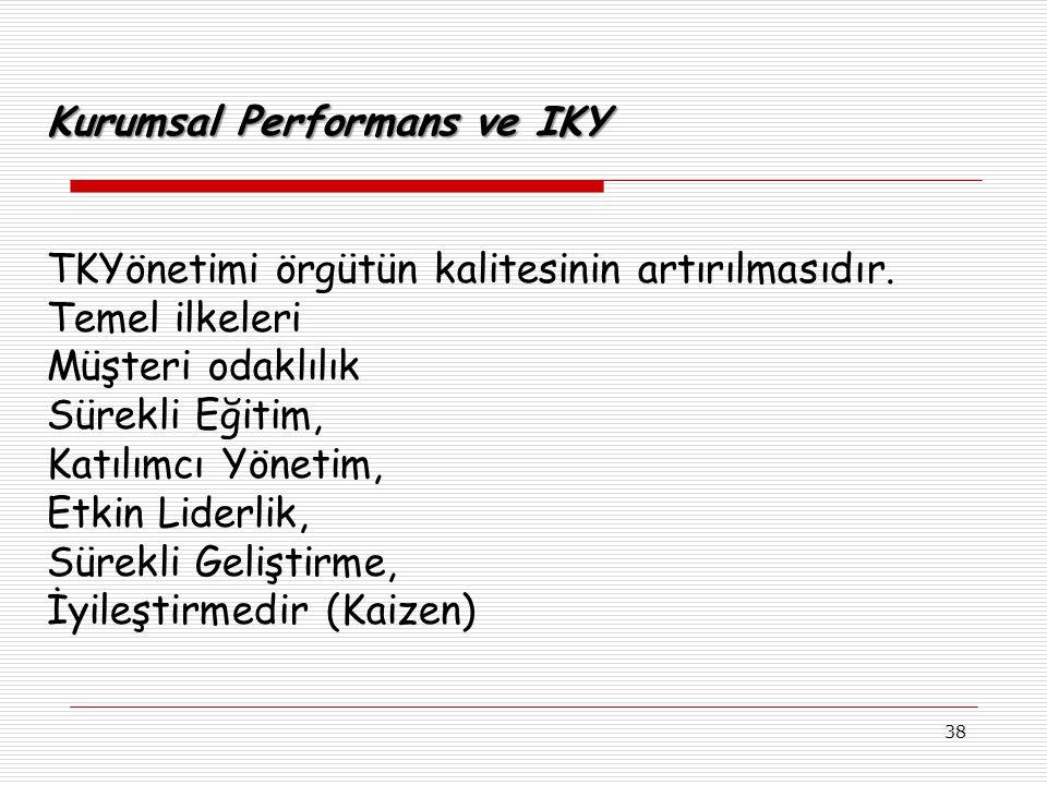 38 Kurumsal Performans ve IKY TKYönetimi örgütün kalitesinin artırılmasıdır.