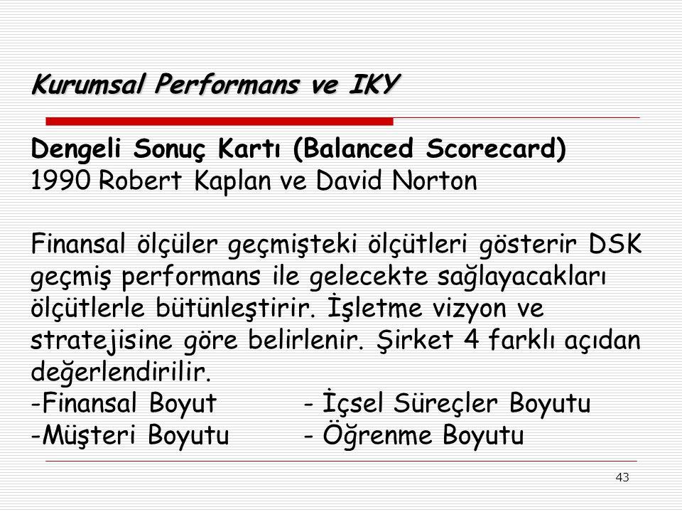 43 Kurumsal Performans ve IKY Dengeli Sonuç Kartı (Balanced Scorecard) 1990 Robert Kaplan ve David Norton Finansal ölçüler geçmişteki ölçütleri gösterir DSK geçmiş performans ile gelecekte sağlayacakları ölçütlerle bütünleştirir.