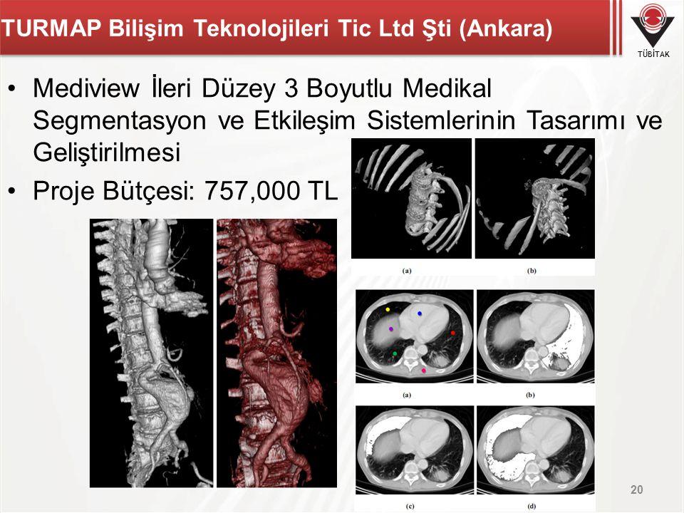 TÜBİTAK TURMAP Bilişim Teknolojileri Tic Ltd Şti (Ankara) Mediview İleri Düzey 3 Boyutlu Medikal Segmentasyon ve Etkileşim Sistemlerinin Tasarımı ve G