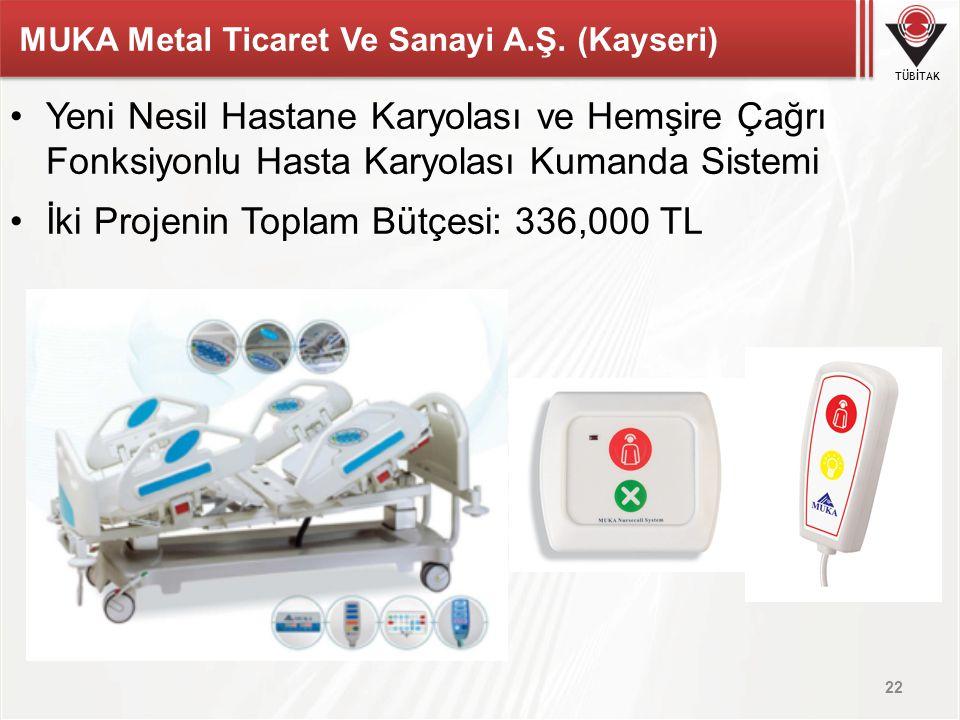 TÜBİTAK MUKA Metal Ticaret Ve Sanayi A.Ş. (Kayseri) Yeni Nesil Hastane Karyolası ve Hemşire Çağrı Fonksiyonlu Hasta Karyolası Kumanda Sistemi İki Proj