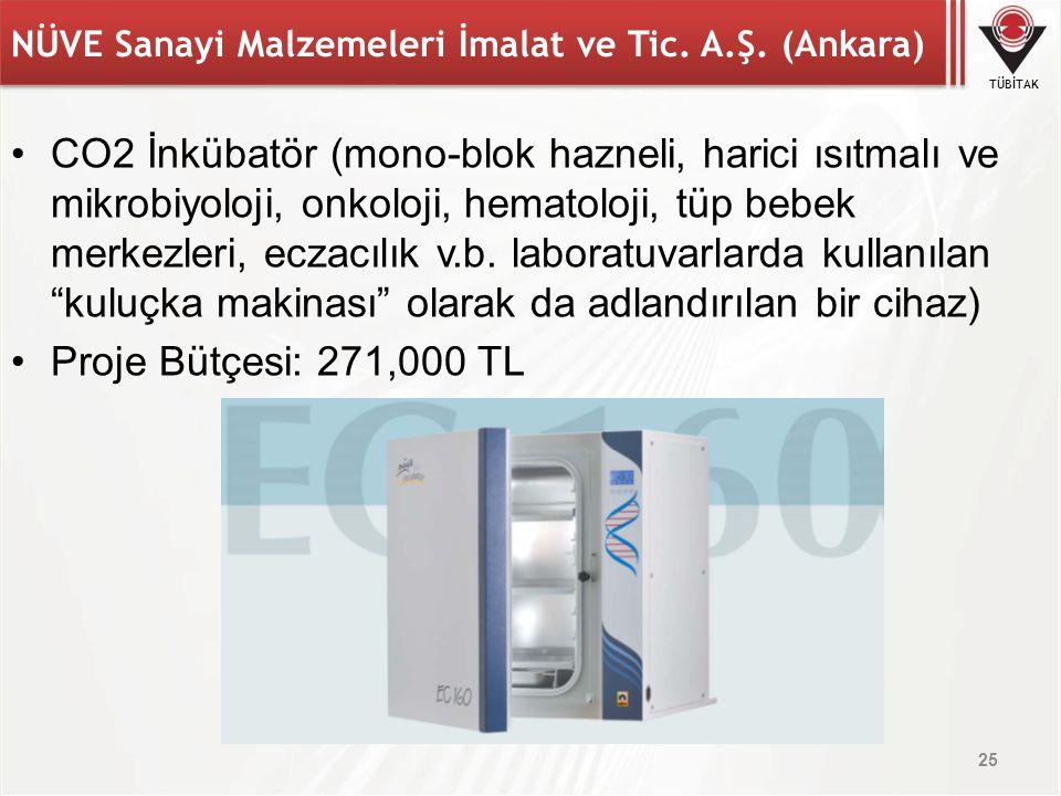 TÜBİTAK NÜVE Sanayi Malzemeleri İmalat ve Tic. A.Ş. (Ankara) CO2 İnkübatör (mono-blok hazneli, harici ısıtmalı ve mikrobiyoloji, onkoloji, hematoloji,