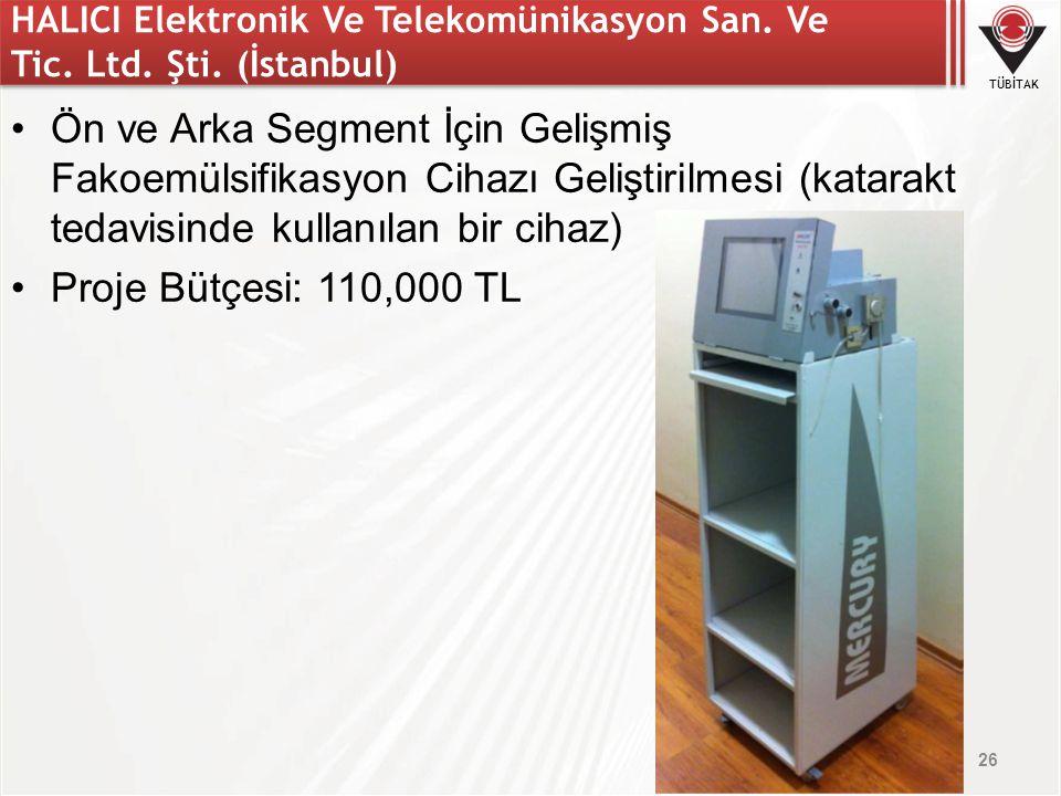 TÜBİTAK HALICI Elektronik Ve Telekomünikasyon San. Ve Tic. Ltd. Şti. (İstanbul) Ön ve Arka Segment İçin Gelişmiş Fakoemülsifikasyon Cihazı Geliştirilm