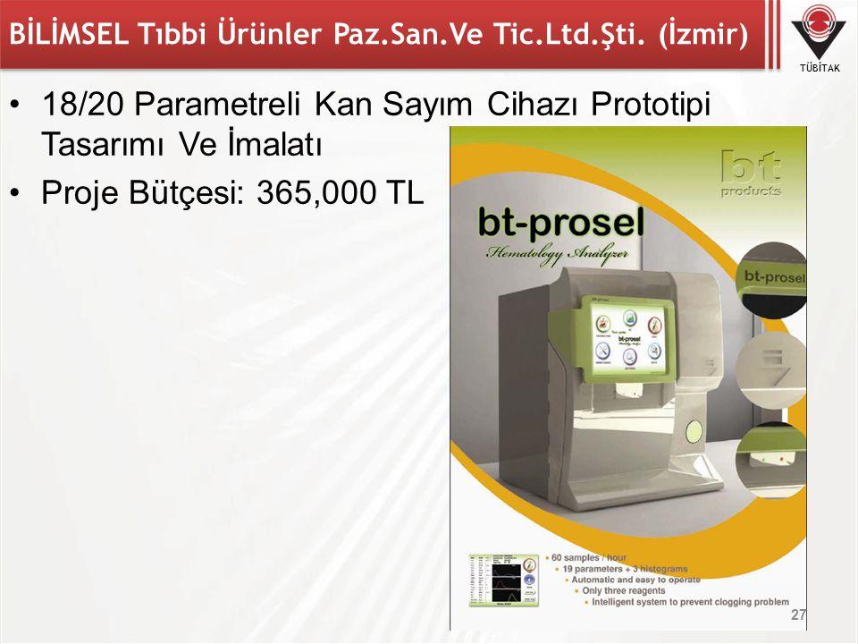 TÜBİTAK BİLİMSEL Tıbbi Ürünler Paz.San.Ve Tic.Ltd.Şti. (İzmir) 18/20 Parametreli Kan Sayım Cihazı Prototipi Tasarımı Ve İmalatı Proje Bütçesi: 365,000